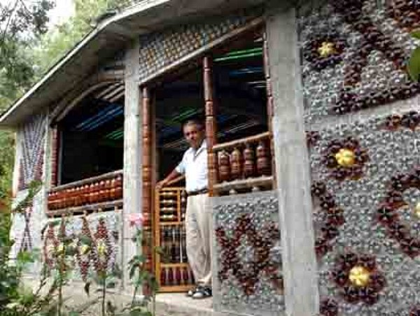 Pensioner builds house made of plastic bottles